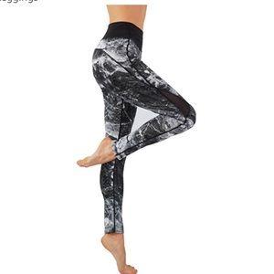 Pants - Mesh side leggings Smokey gray print